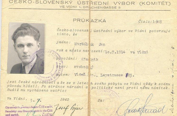 Hans Maršálek Personalausweis 1945